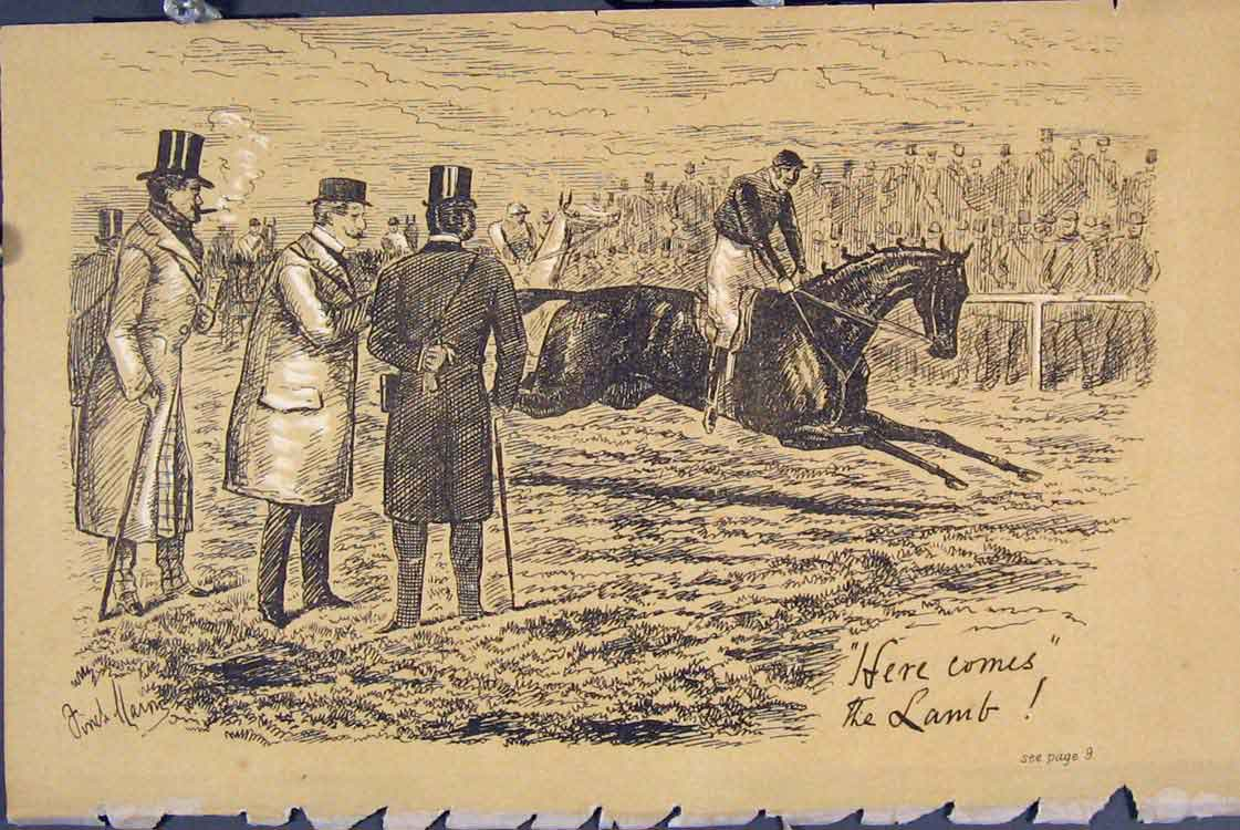 Print C1881 Horse Racing Jockey Finish Line Men 415731 Old Original