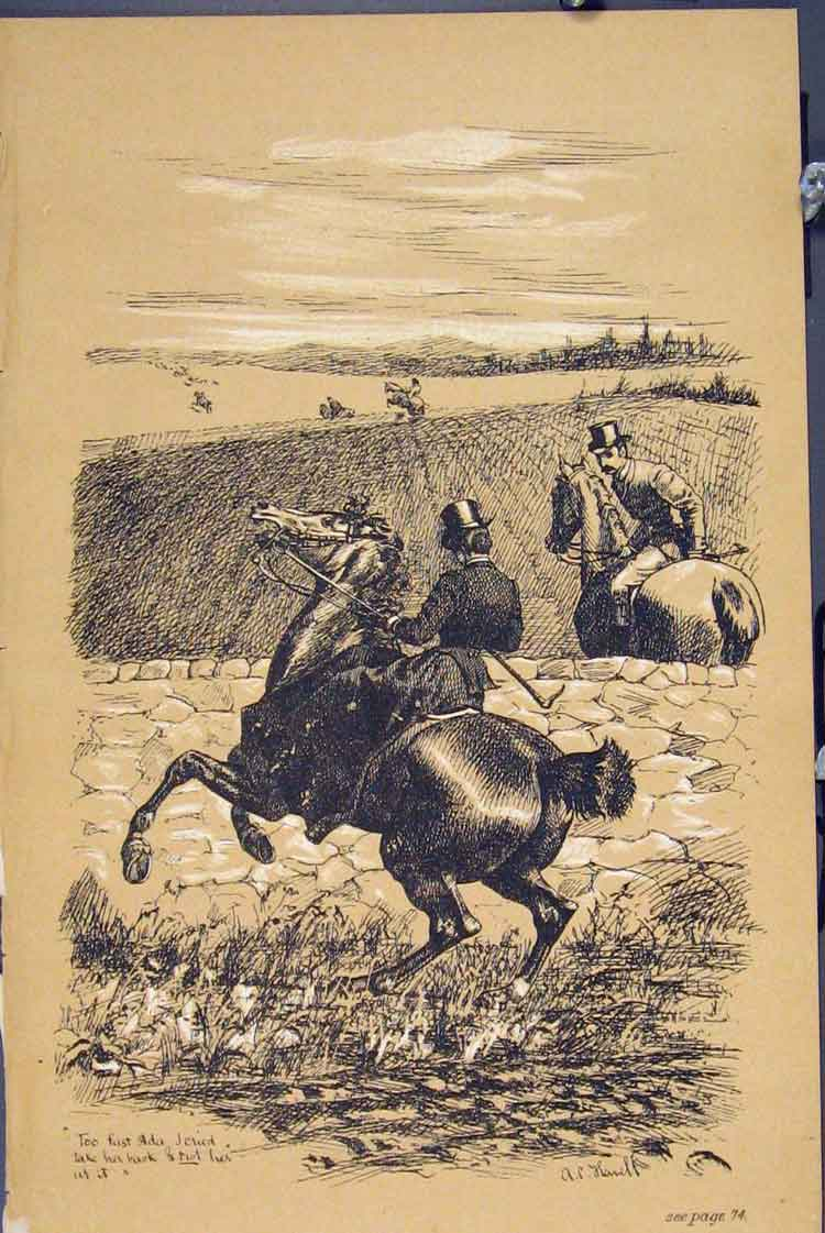 Print Fox Hunting C1881 Horses Refusing Jumping Wall 475731 Old Original