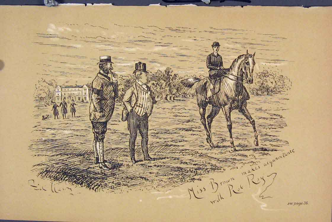 Print C1881 Horse Miss Brown Rob Roy Men Country 545731 Old Original