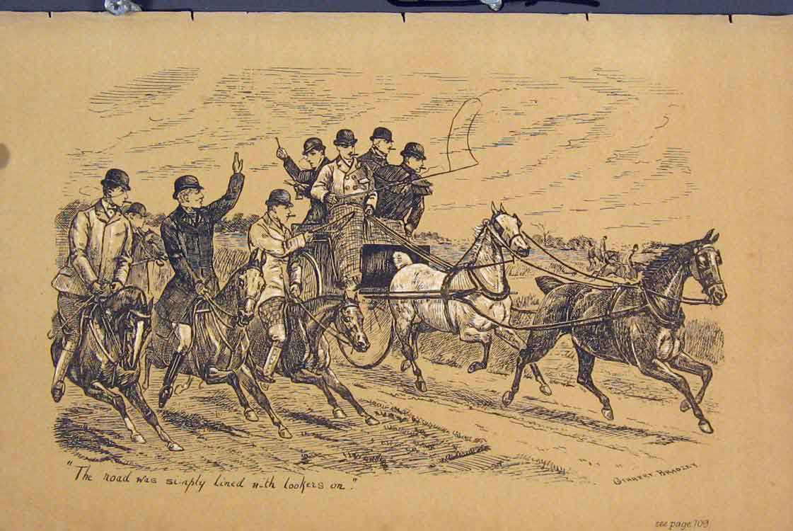 Print Horses Coach Racing Country Scene C1881 Sepia 725731 Old Original
