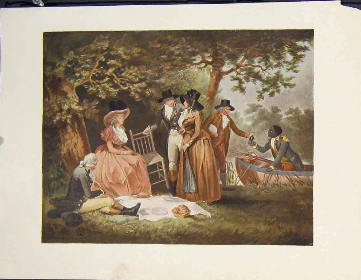 [Print Picnic River Food Boat Color Fine Art C1902 315811 Old Original]