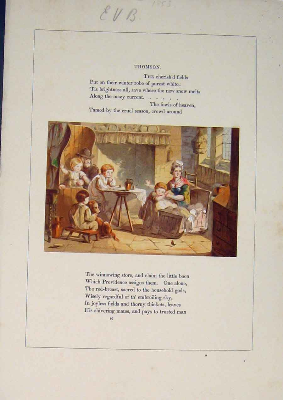 [Print Thomson Poem Poet Poetry Family Sitting Room Art C1853 415811 Old Original]