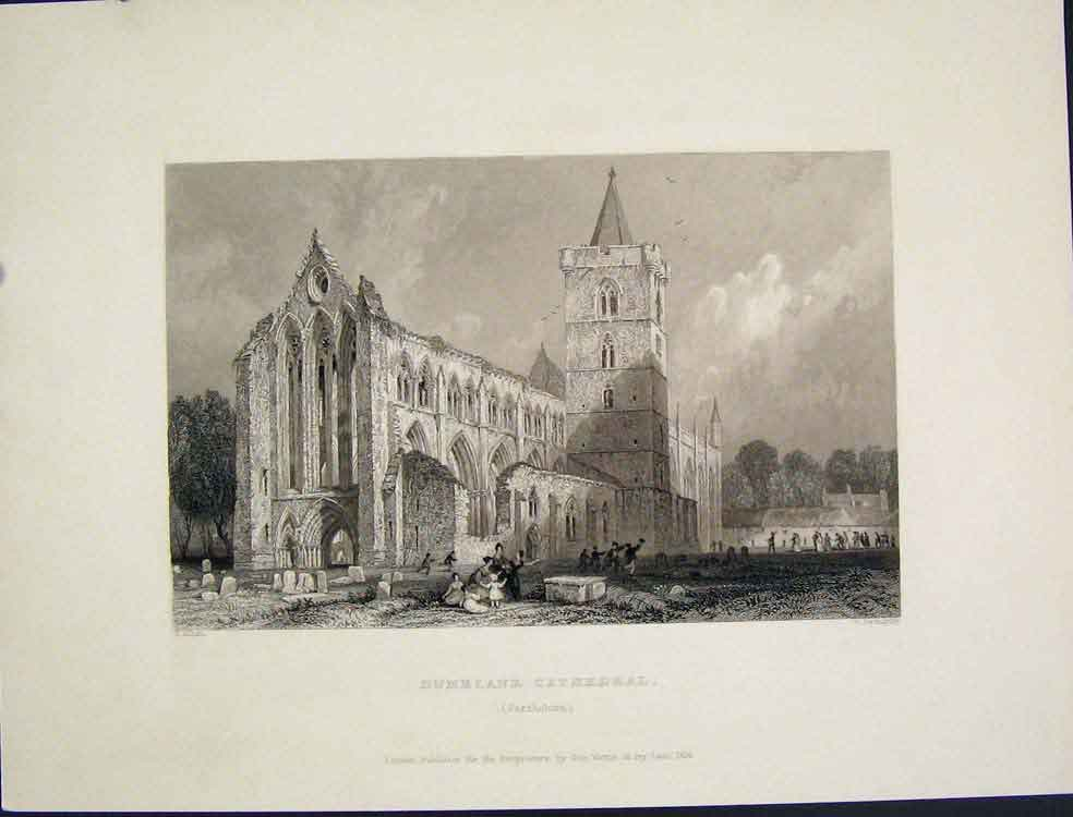 [Print Dumblane Cathedral Perthshire Scotland C1875 115821 Old Original]