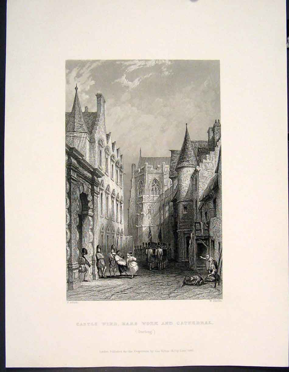 [Print Castle Wind Mars Work Cathedral Stirling Scotland 545841 Old Original]