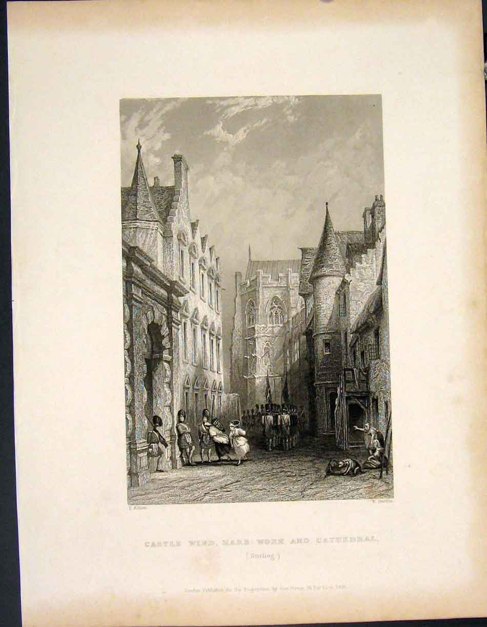 [Print Castle Wind Mars Work Cathedral Stirling Scotland Art 995841 Old Original]