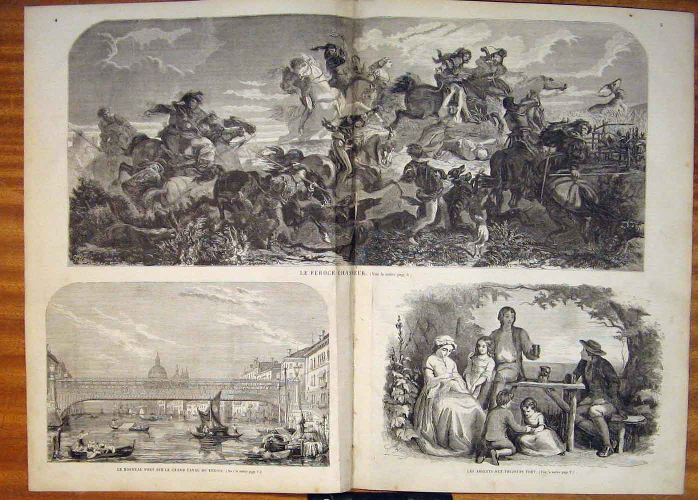 [Print Deer Hunt Hunting Horse Hounds Venice Canal Boat 1858 03T5861 Old Original]