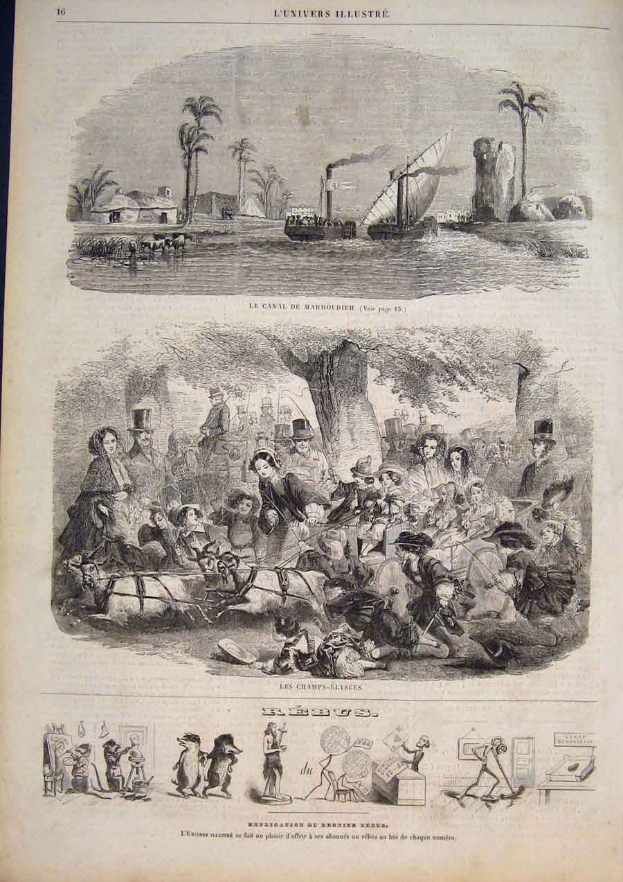 [Print Canal Suez Boat Les Champs-Elysees Paris France 1858 165861 Old Original]