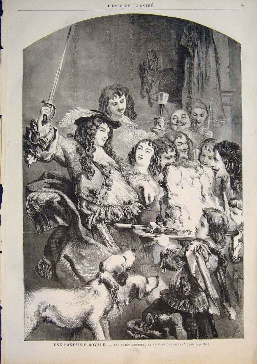 [Print Royal Fantasy George Dogs Party France 1858 375861 Old Original]
