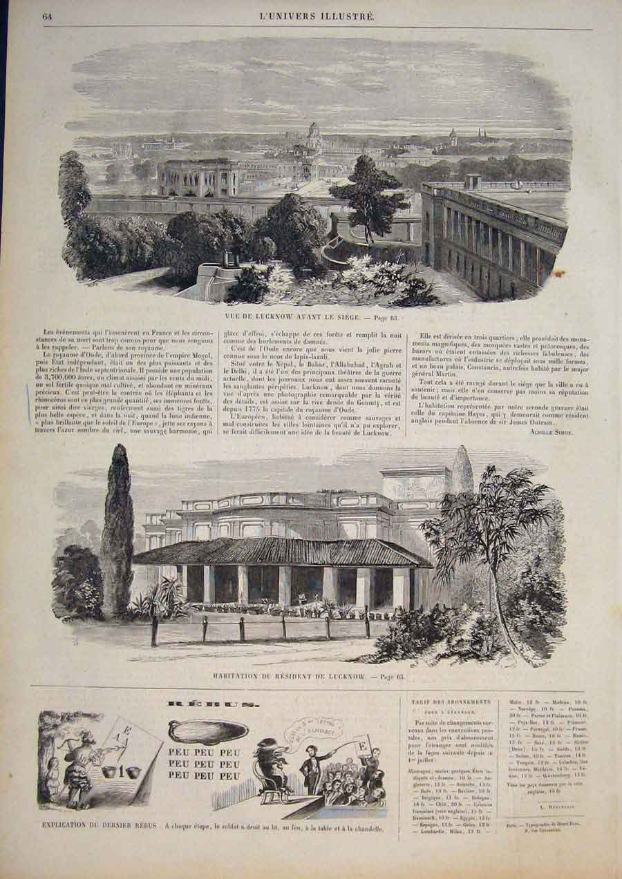 [Print Lucknow House View India Nepal Hayes Mogol 1858 645861 Old Original]