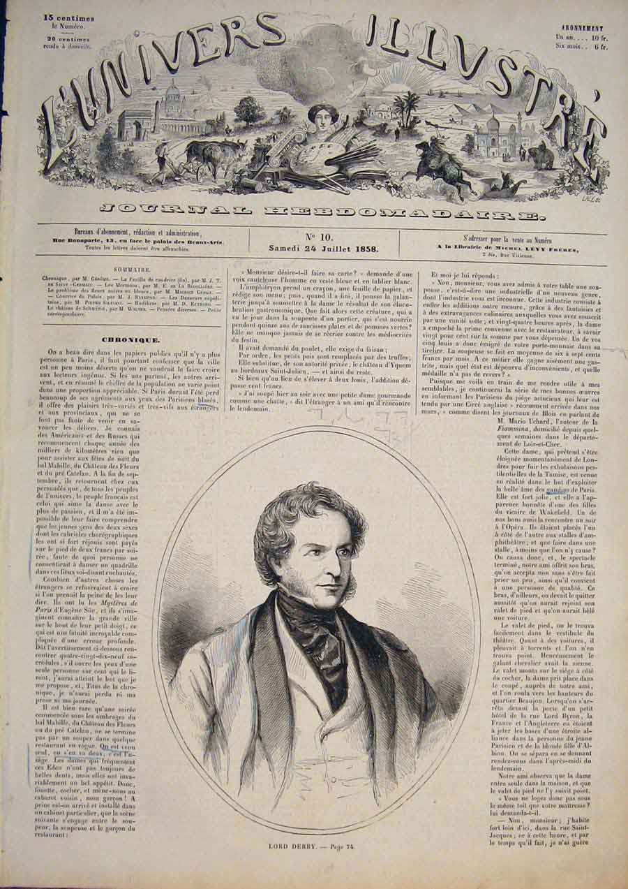 [Print Portrait Lord Derby France French Fine Art 1858 745861 Old Original]