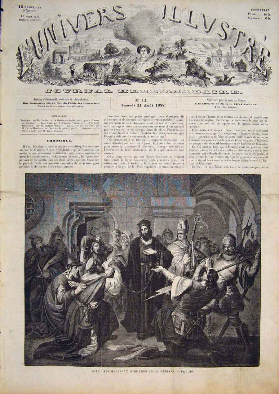 [Print Huss Religion Religious France French 1858 065861 Old Original]