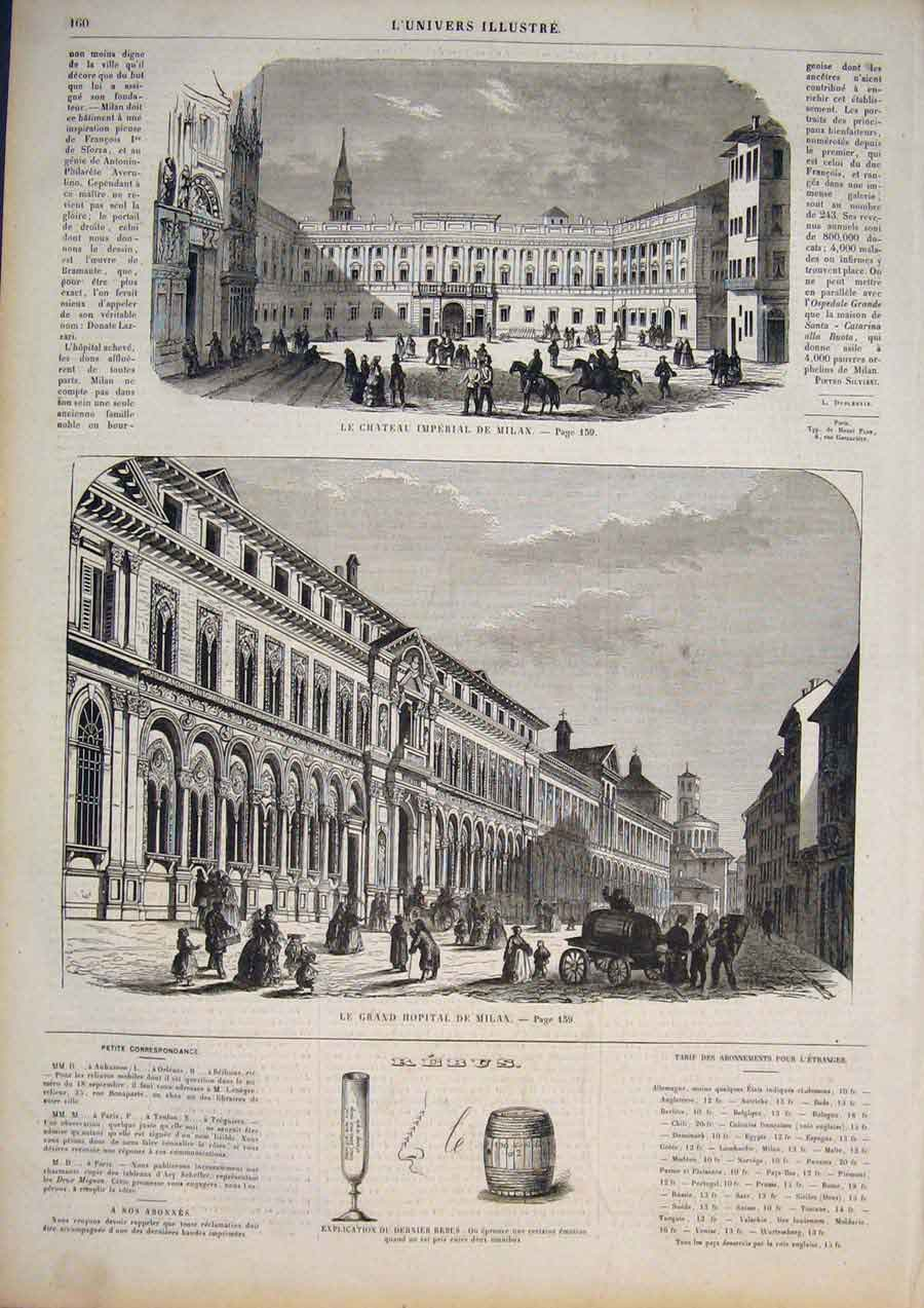 [Print Imperial Castle Milan Italy Hospital 1858 605861 Old Original]
