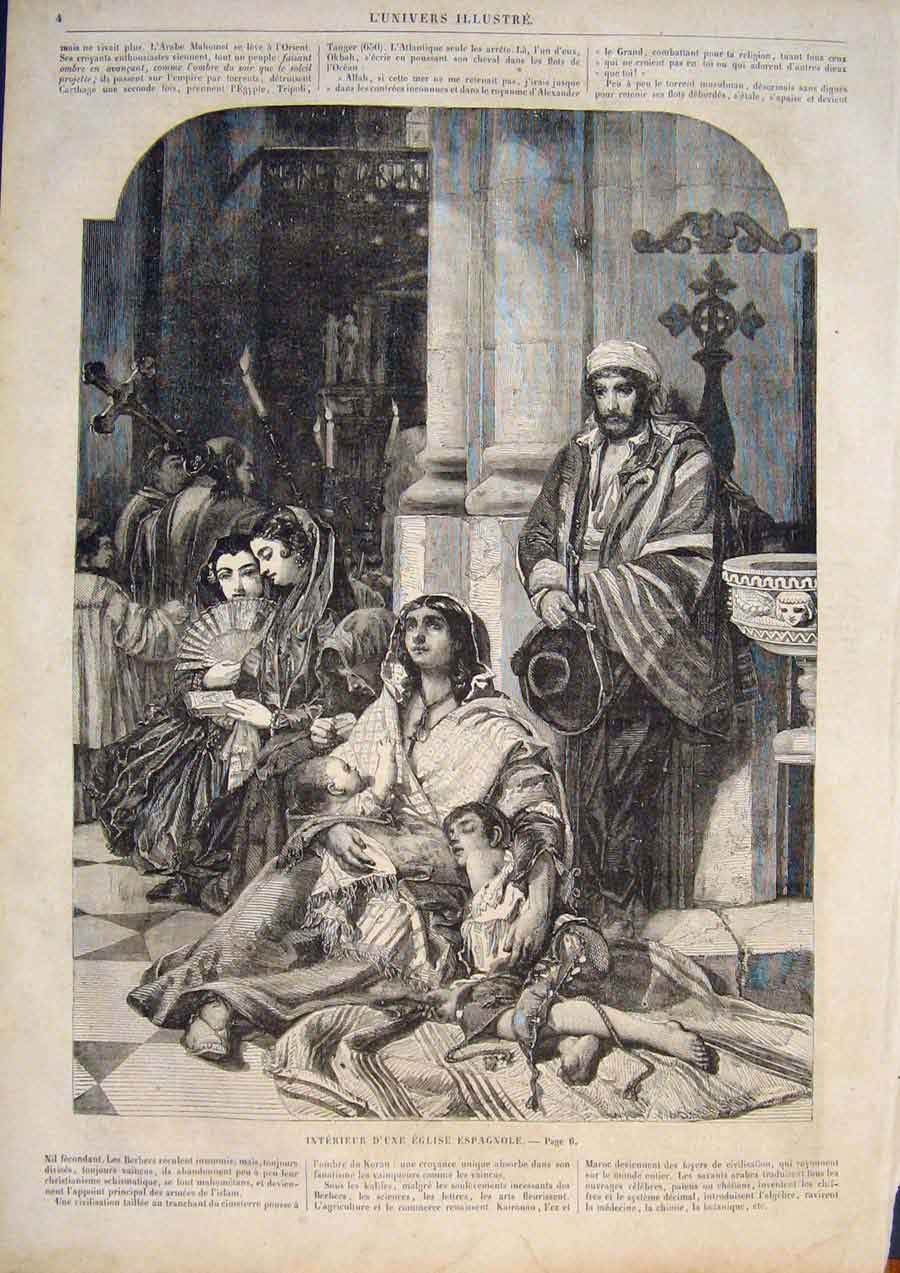 [Print Spain Spanish Church Lady Baby Child Fine Art 1859 045861 Old Original]