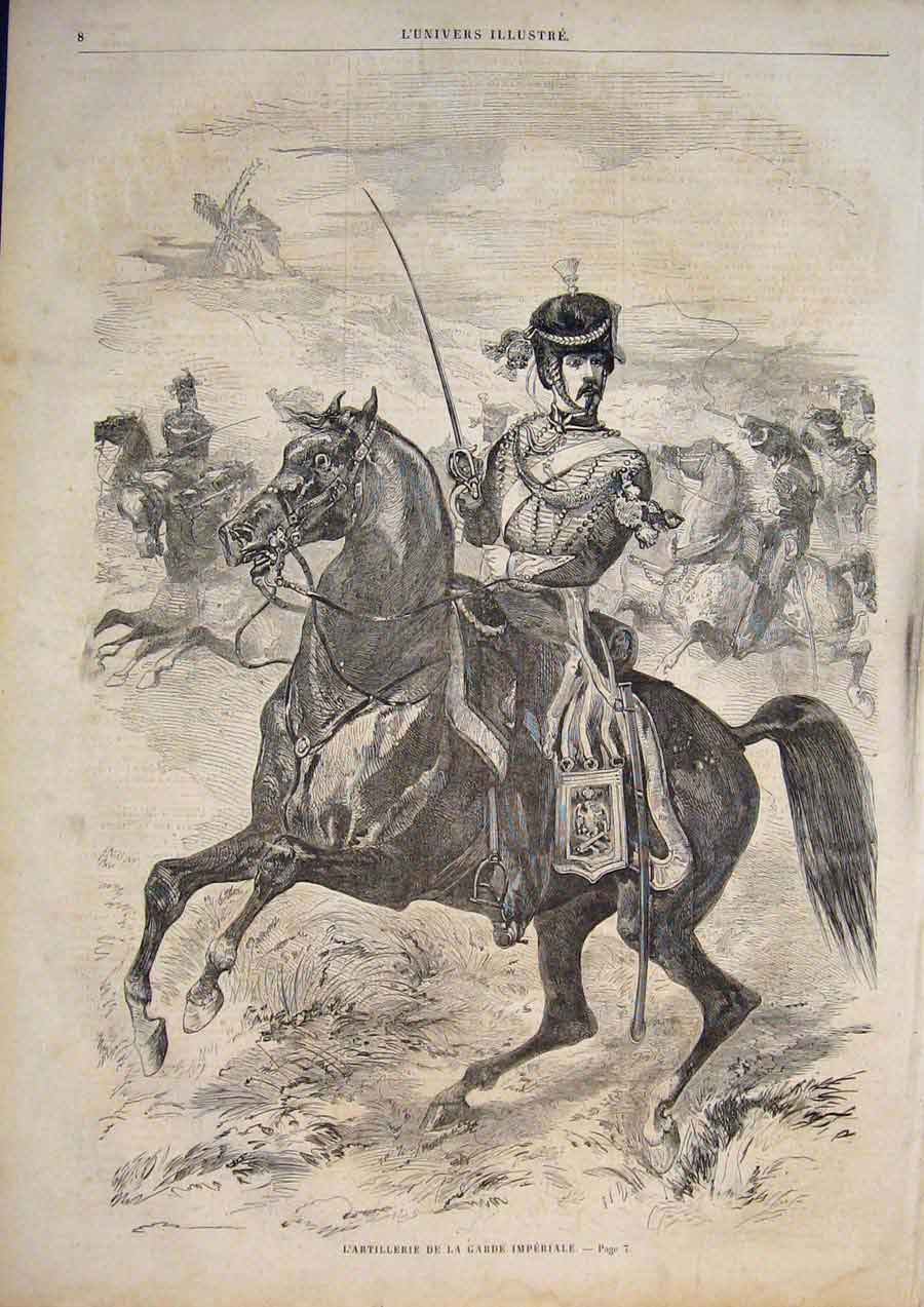 [Print Imperial Guard Artillery Guards Horse Army 1859 085861 Old Original]