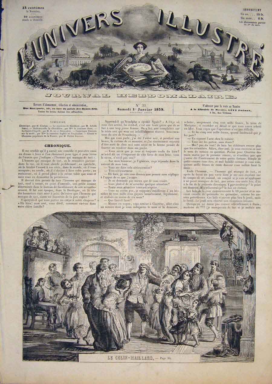 [Print Le Colin-Maillard Games Blind Mans Buff Party 1859 345861 Old Original]