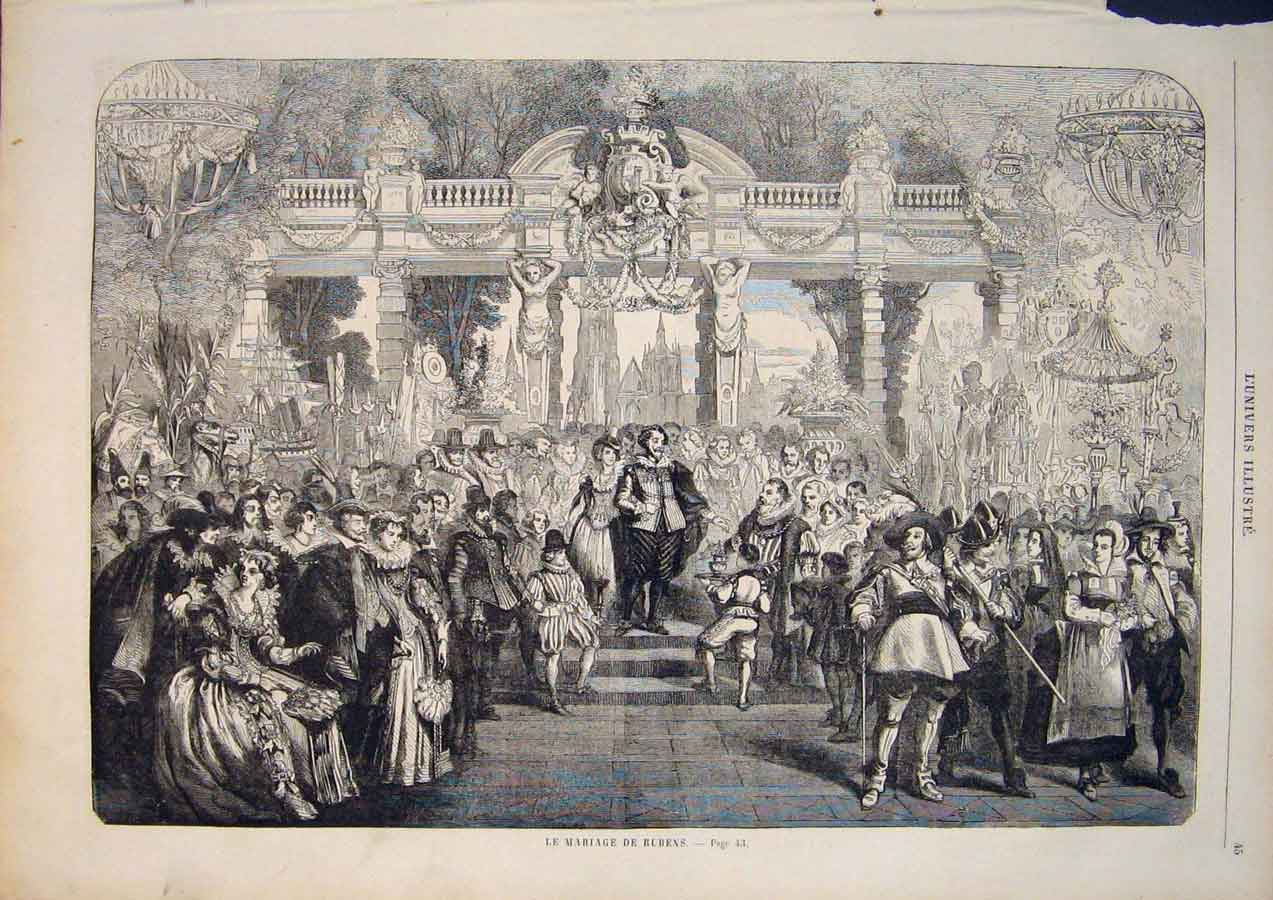 [Print Reubens Marriage Wedding Artist French 1859 455861 Old Original]