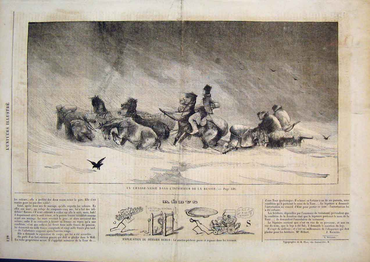 [Print Russian Interior Snow Storm Russia Horses 1859 285861 Old Original]