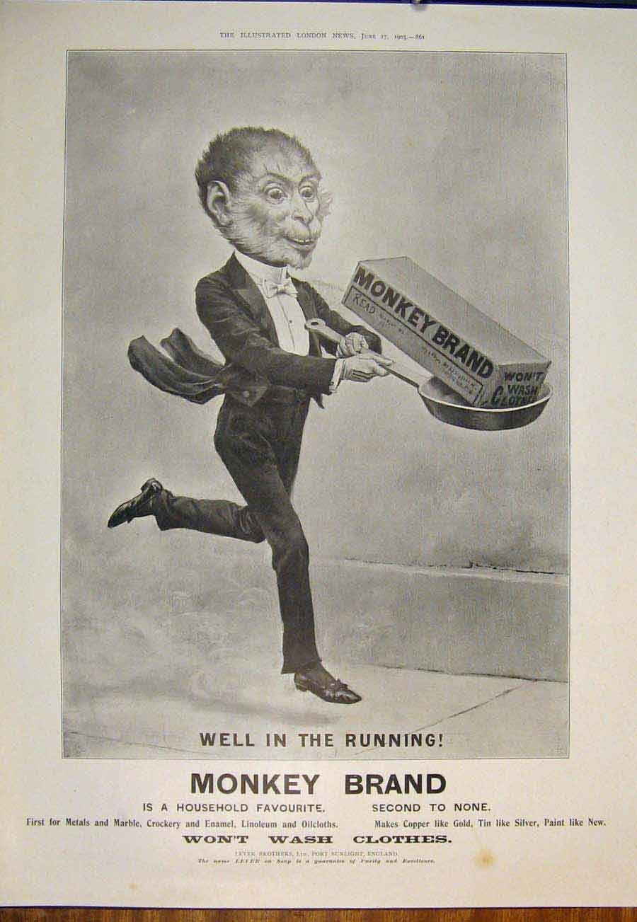 [Print Monkey Brand Advert Soap Advertisement 1905 805871 Old Original]
