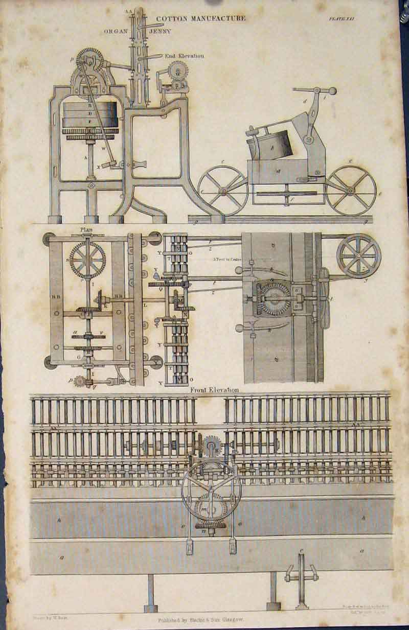 [Print Cotton Machine Machinary Organ Jenny Fine Art C1837 225891 Old Original]