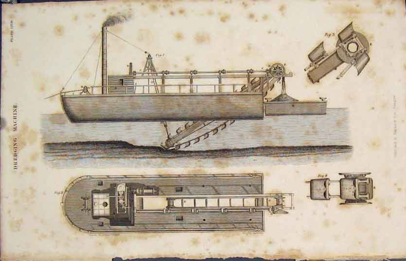 [Print Dredgin Machine Ship Boat Appliances Fine Art 1837 285891 Old Original]