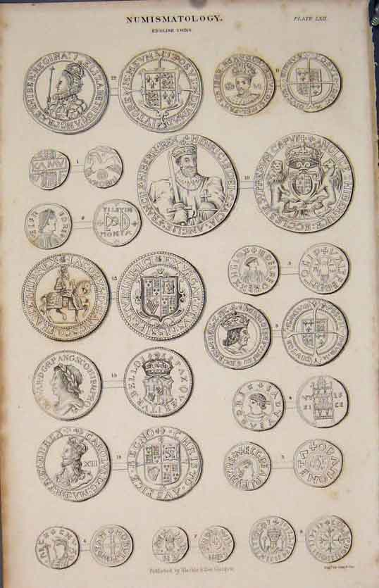 [Print Numismatology English Coin Coins Gray & Son Fine Art 545891 Old Original]