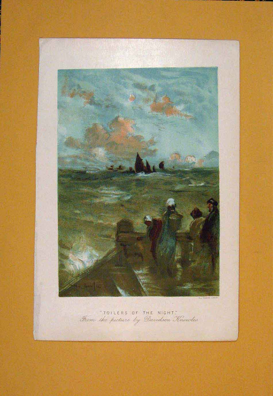 Print Toilers Night Davidson Knowles Color Ship Boat 486021 Old Original