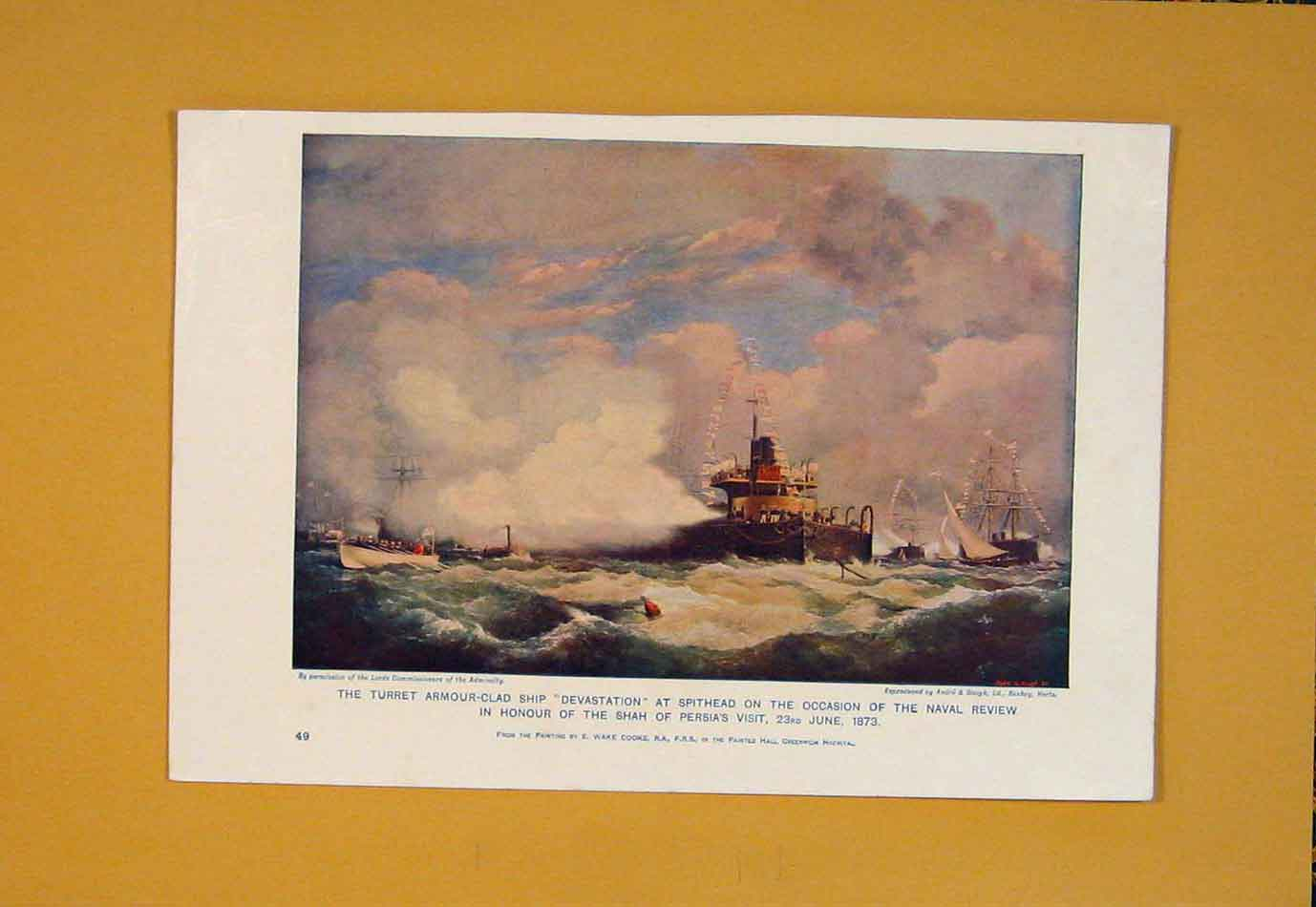 Print Armour-Clad Ship Turret Spithead Naval C1915 506021 Old Original