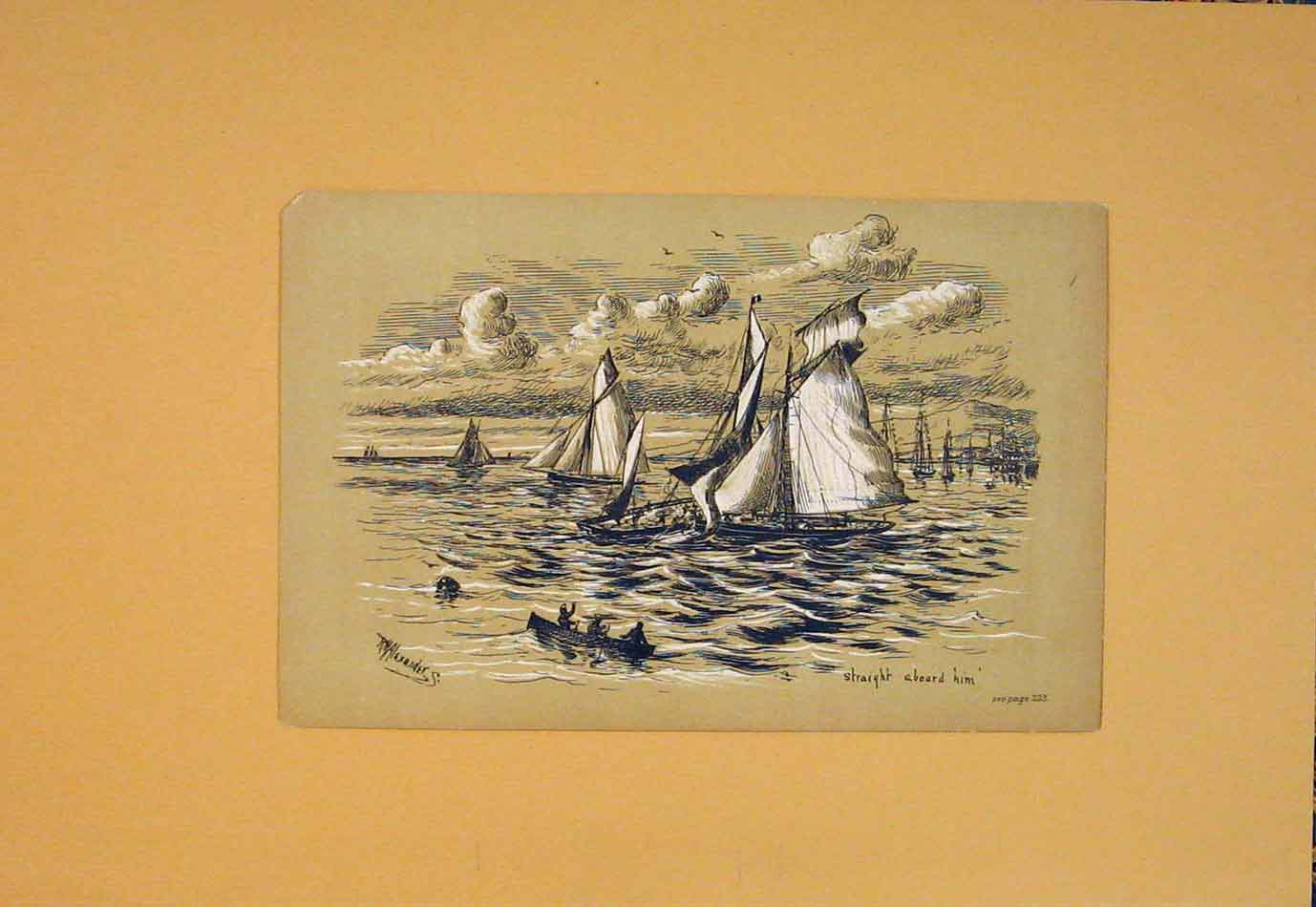 Print Ship Boat Sea Sail Sketch Art C1880 676021 Old Original