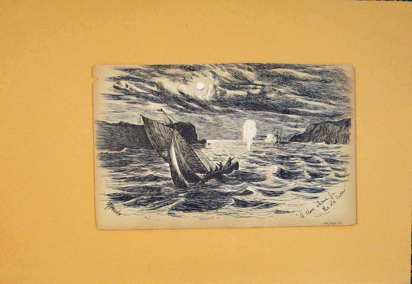 [Print Storm Sea Ship Boat Cutter Cliff Art C1880 686021 Old Original]