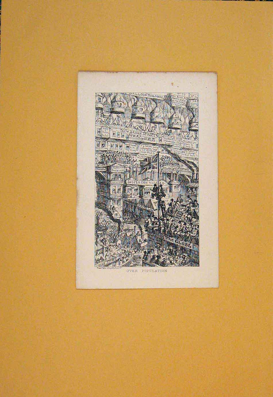 Print Over Population City Town Art C1840 706021 Old Original