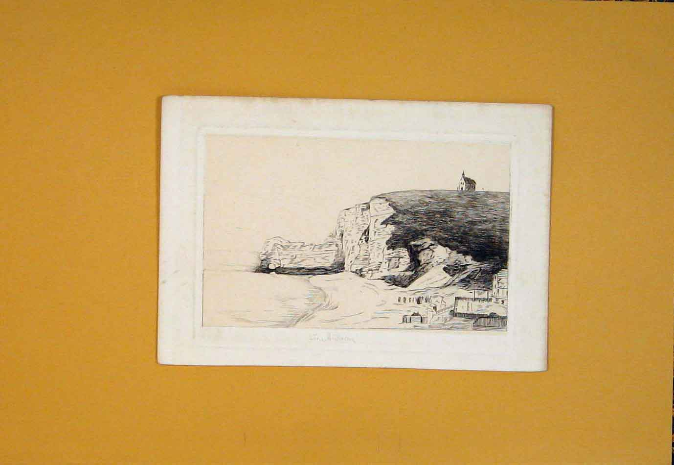 [Print Landscape Landscapes Cliff Sea Ocean Beach C1878 766021 Old Original]