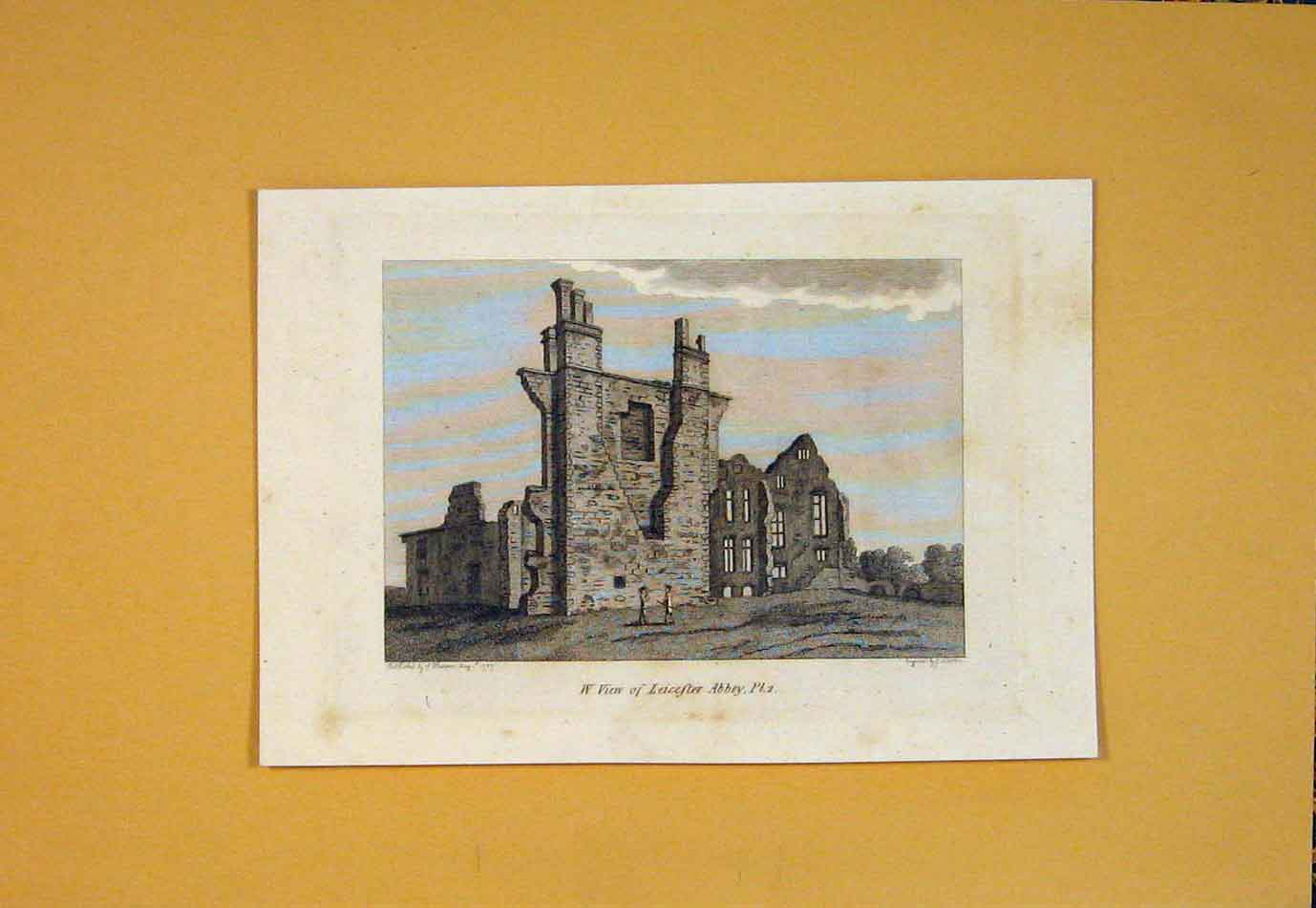 Print Leicester Abbey England Fine Art 1865 276021 Old Original
