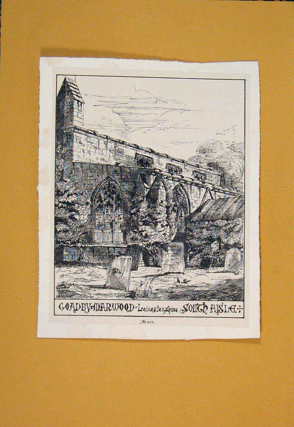 Print Goadby Marwood Liecestershire South Grave Yard 366021 Old Original