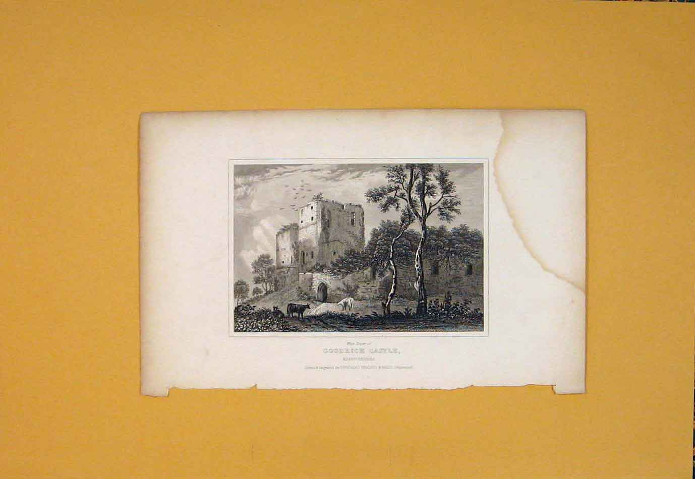 Print Goodrich Castle Herefordhsire West Tower England Art 376021 Old Original