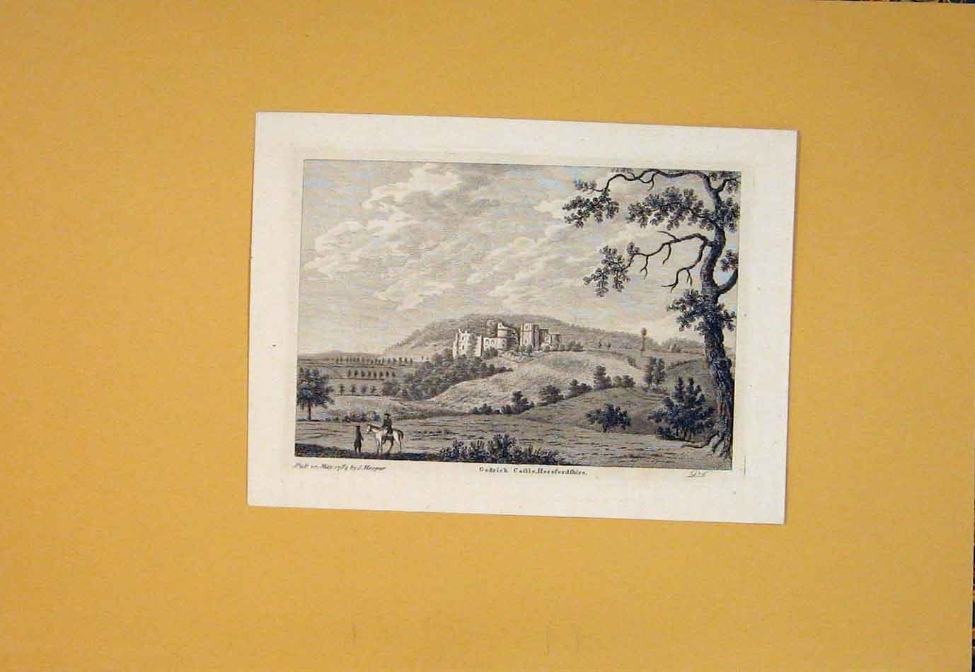 Print Godrich Castle Herefordshire England 396021 Old Original