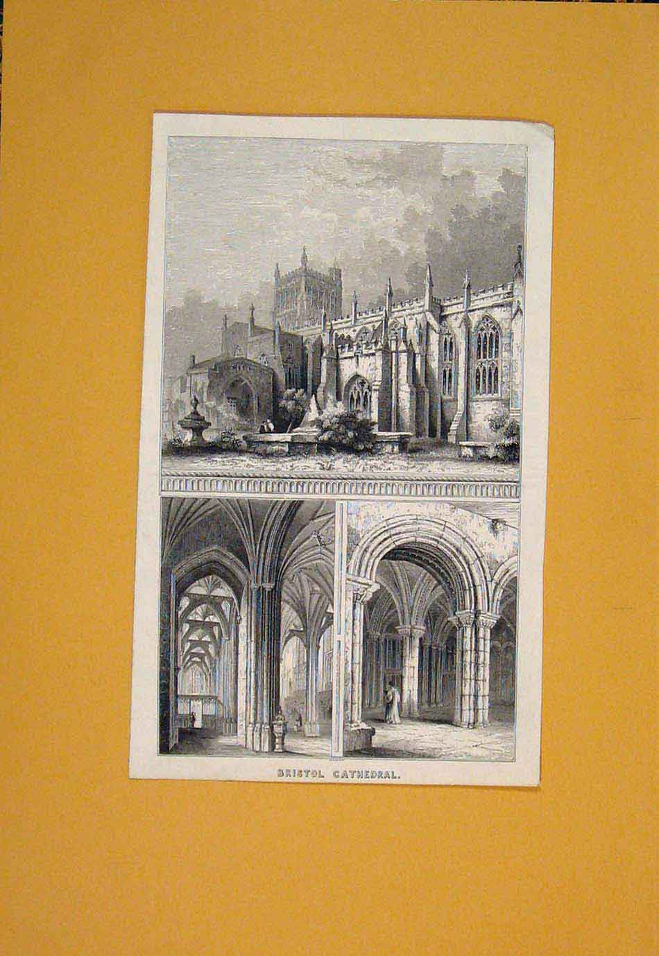 Print Bristol Cathedral England Fine Art 506021 Old Original