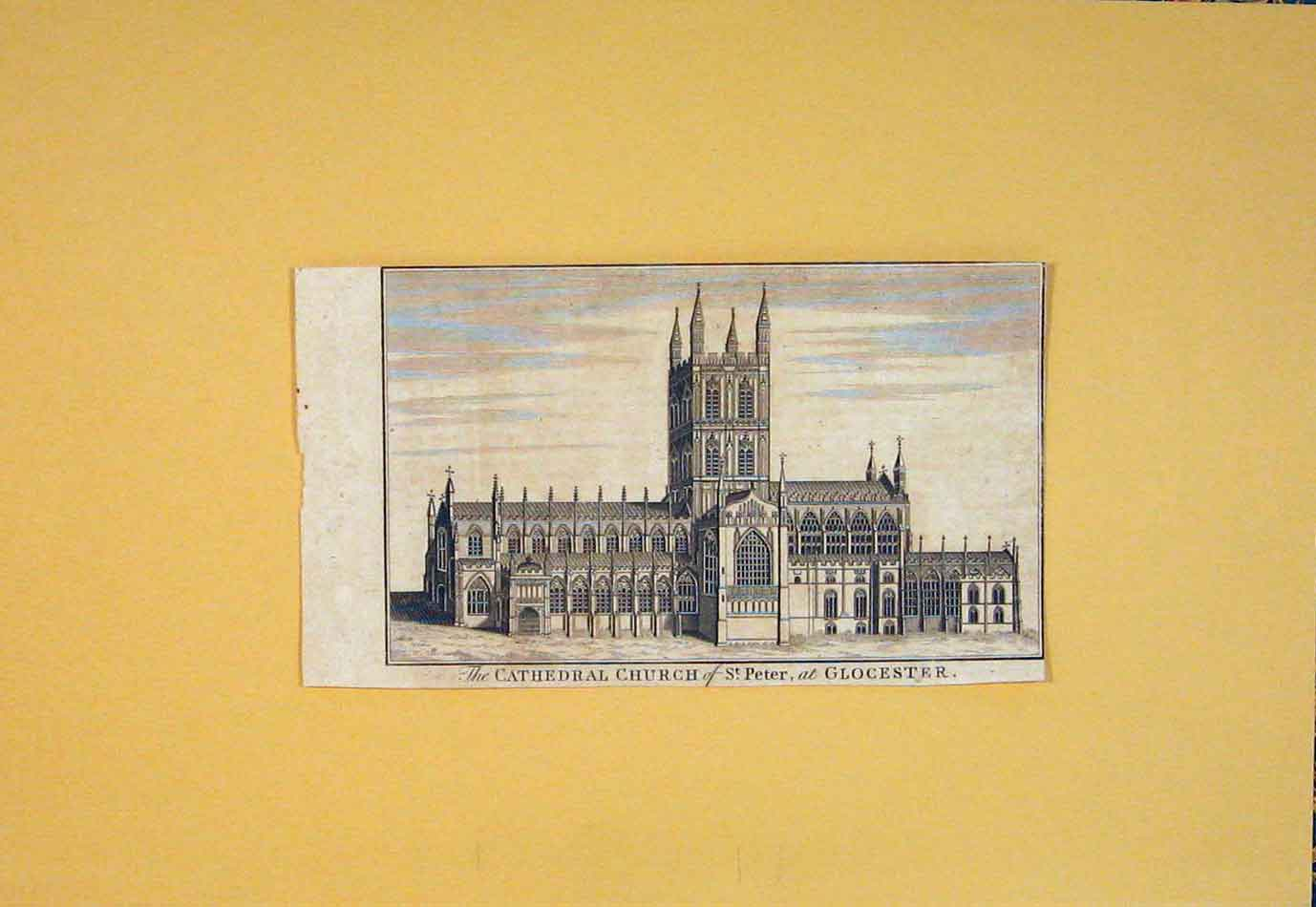 Print Cathedral Church St Peter Glocester 666021 Old Original