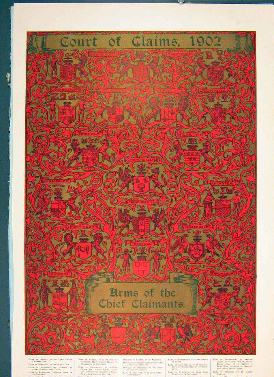 Print Court Claims 1902 Arms Chief Claimants Color 216041 Old Original