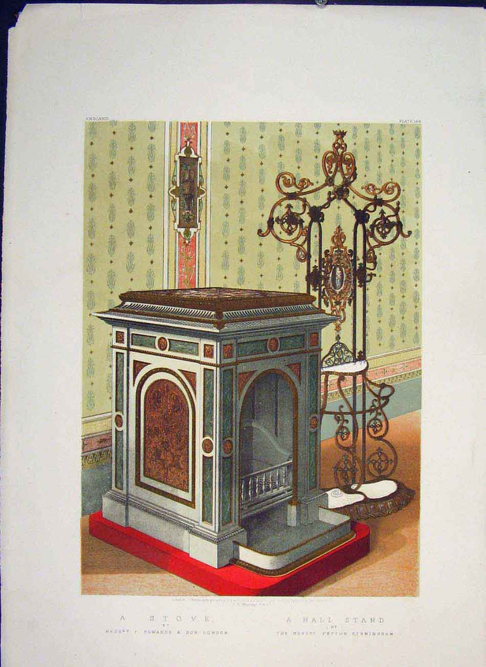Print Stove Hall Stand Color Oven Art C1862 286041 Old Original