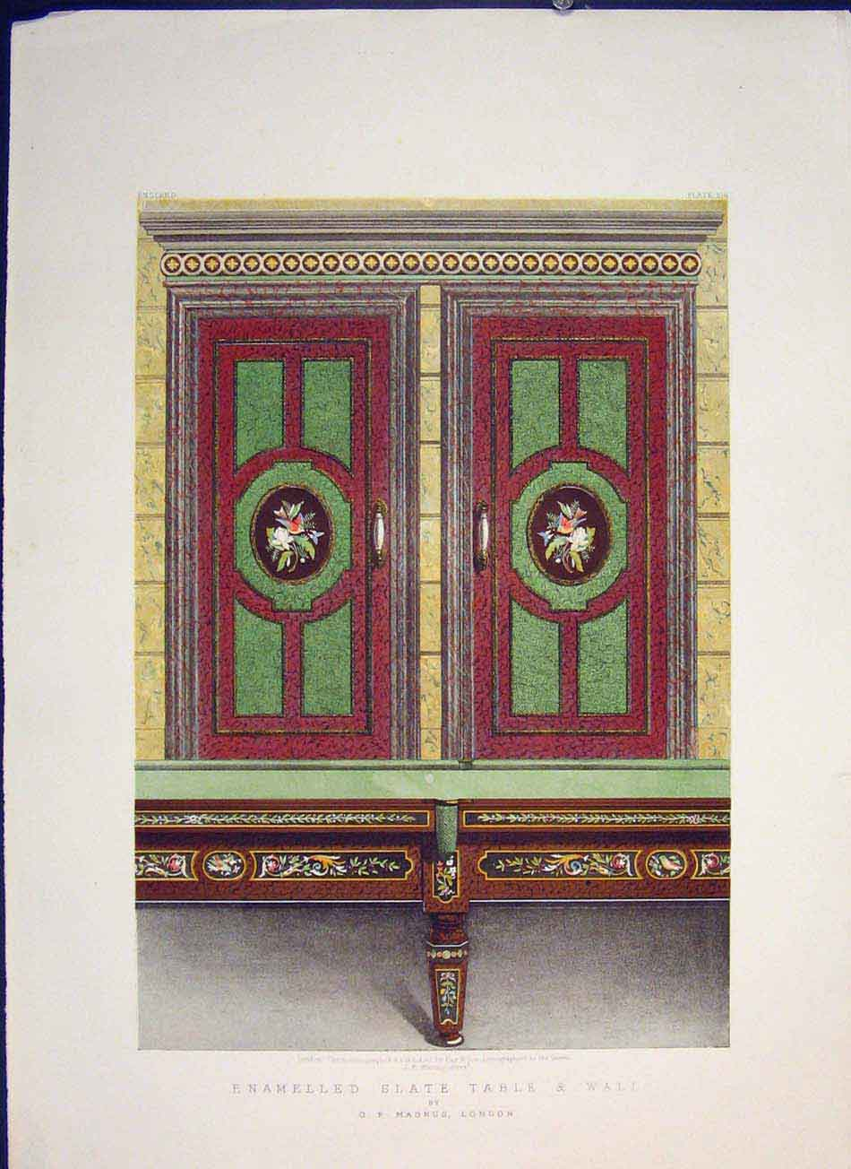 Print Enamelled Slate Table Wall Color Art 1862 416041 Old Original