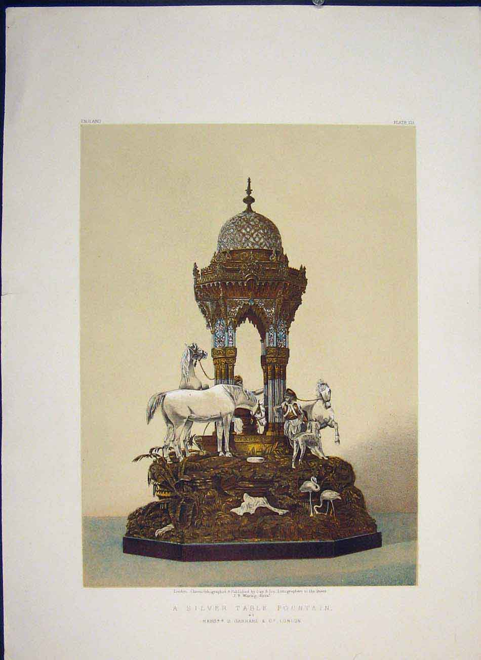 Print Silver Table Fountain Garrad Color Art 566041 Old Original
