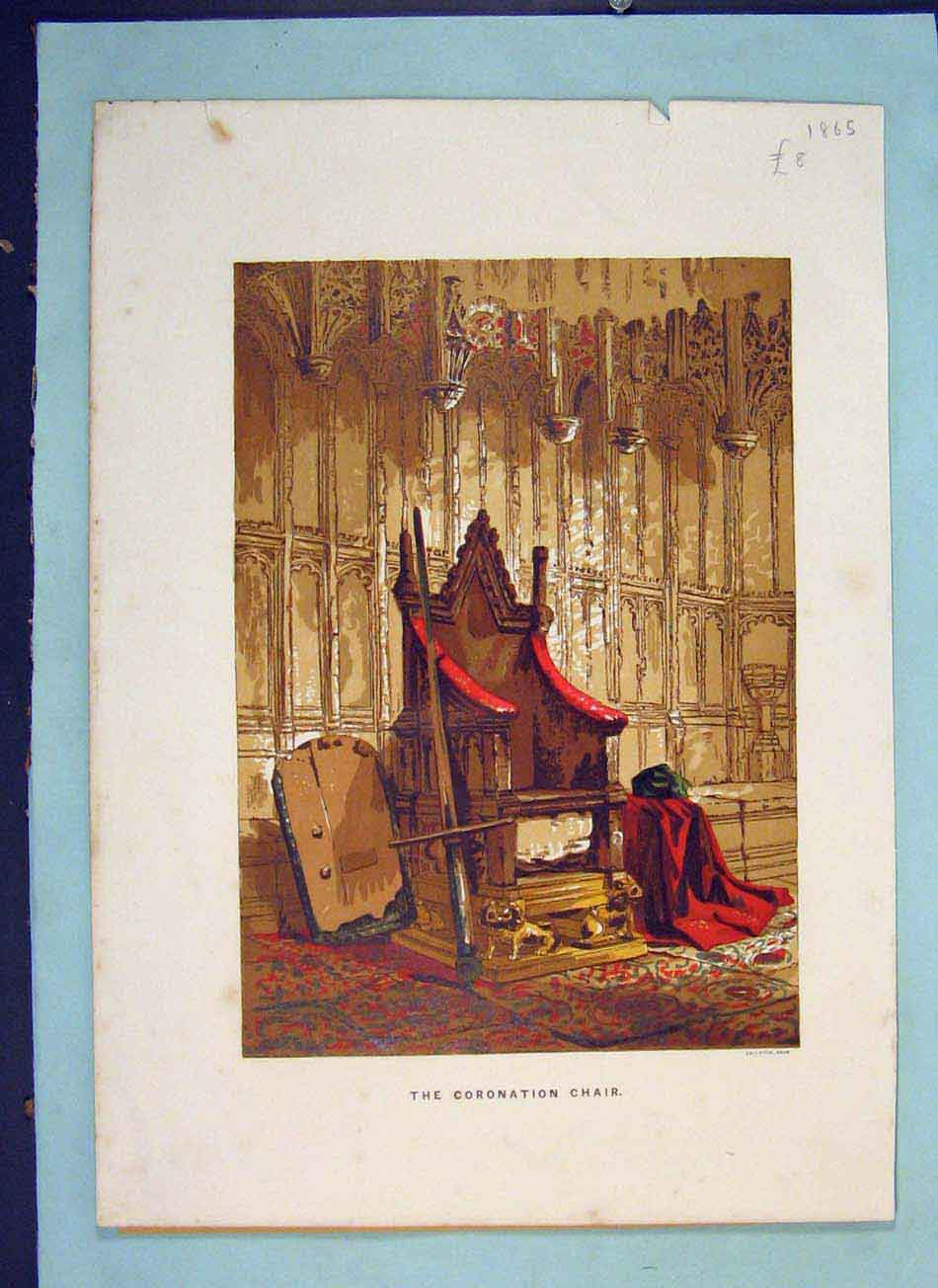 Print Coronation Chair Color Fine Art C1865 716041 Old Original