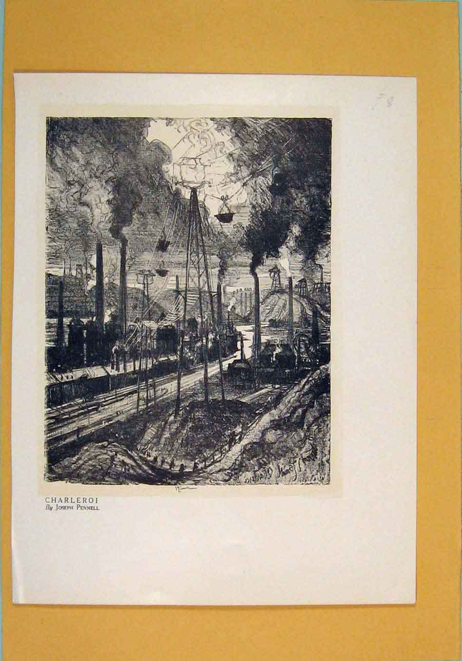 Print Charleroi Train Station France Rail Art 546051 Old Original