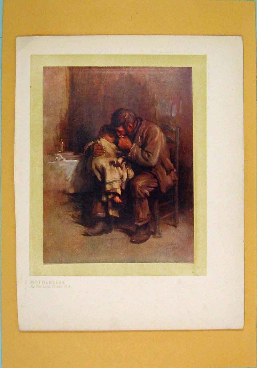 [Print Motherless Lost Mother Sad Father Child Color 426051 Old Original]