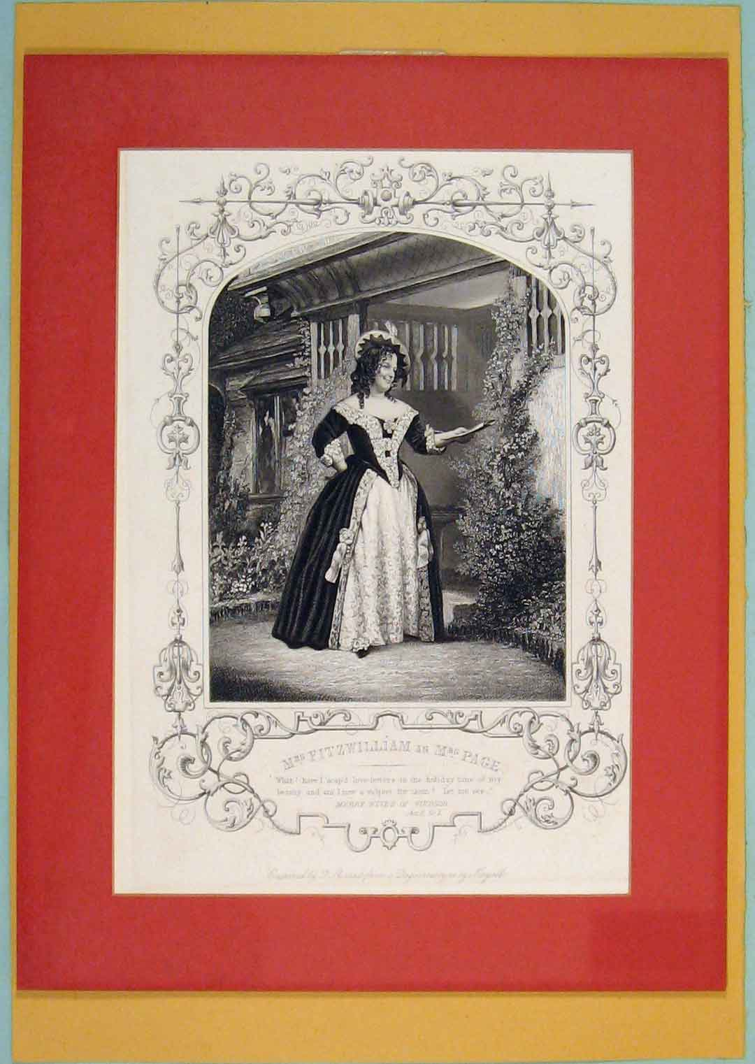 Print Mre Fitzwilliam Mrs Page Theatre Play Act Scene 046051 Old Original