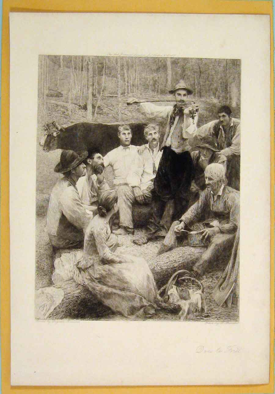 Print Dans Foret Men Woman Eating Picnic Portrait 056051 Old Original