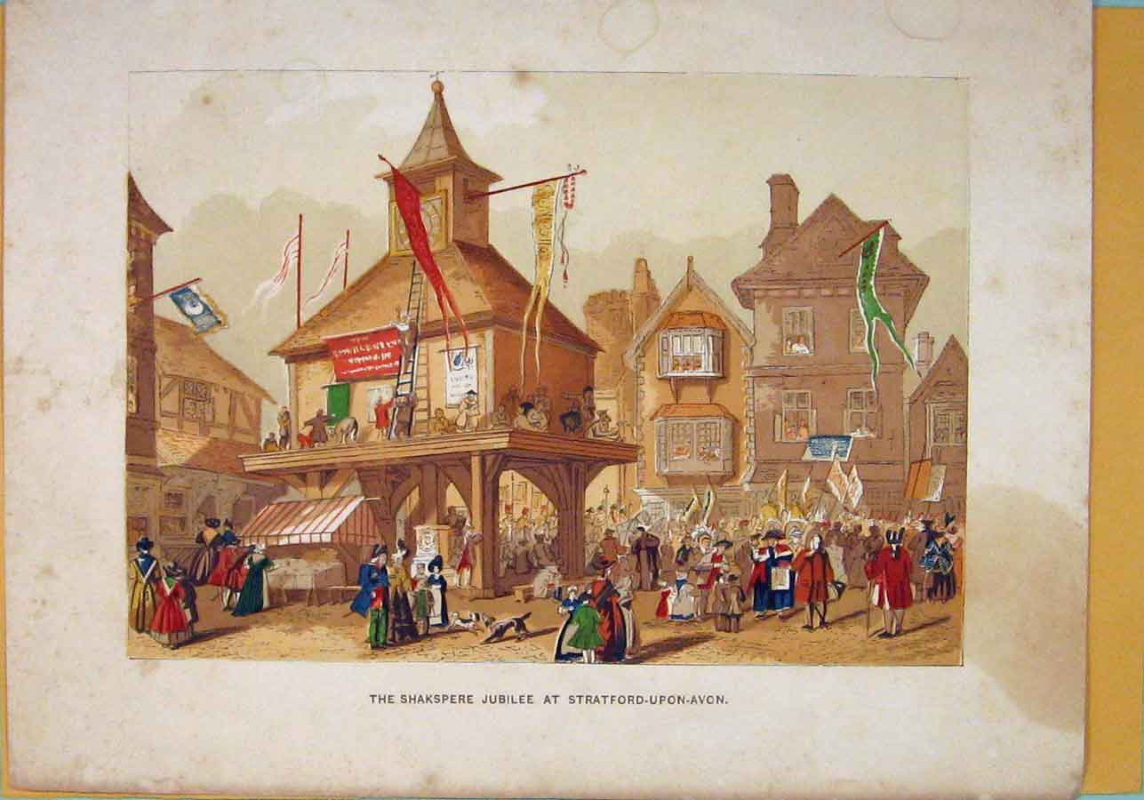 Print Shakspeare Jubilee Stratford Upon Avon C1860 Color 066051 Old Original