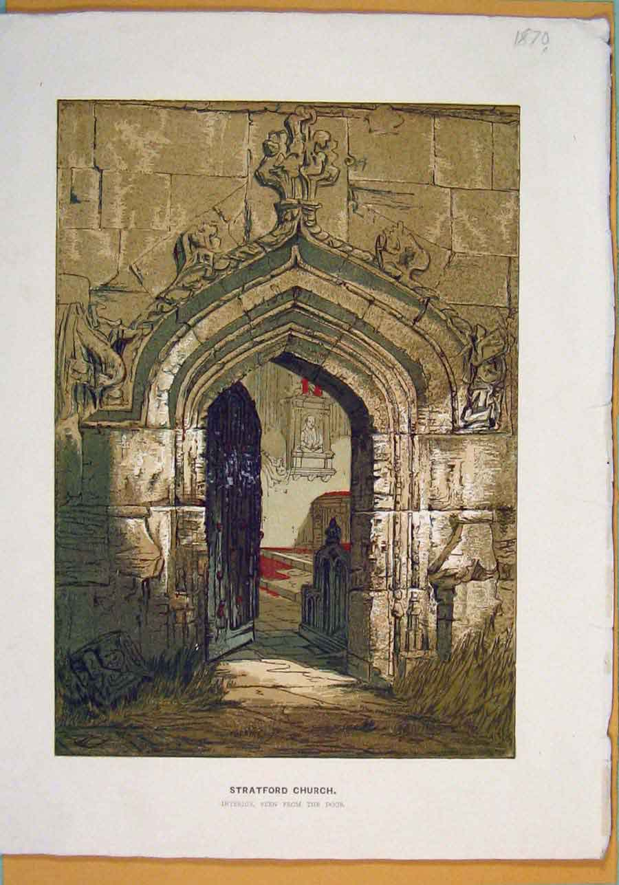 Print Stratford Church Interior Color C1870 106051 Old Original