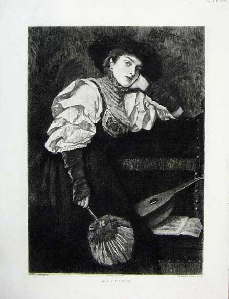 Print Sir James Linton Painting Waiting Portrait C1891 696051 Old Original