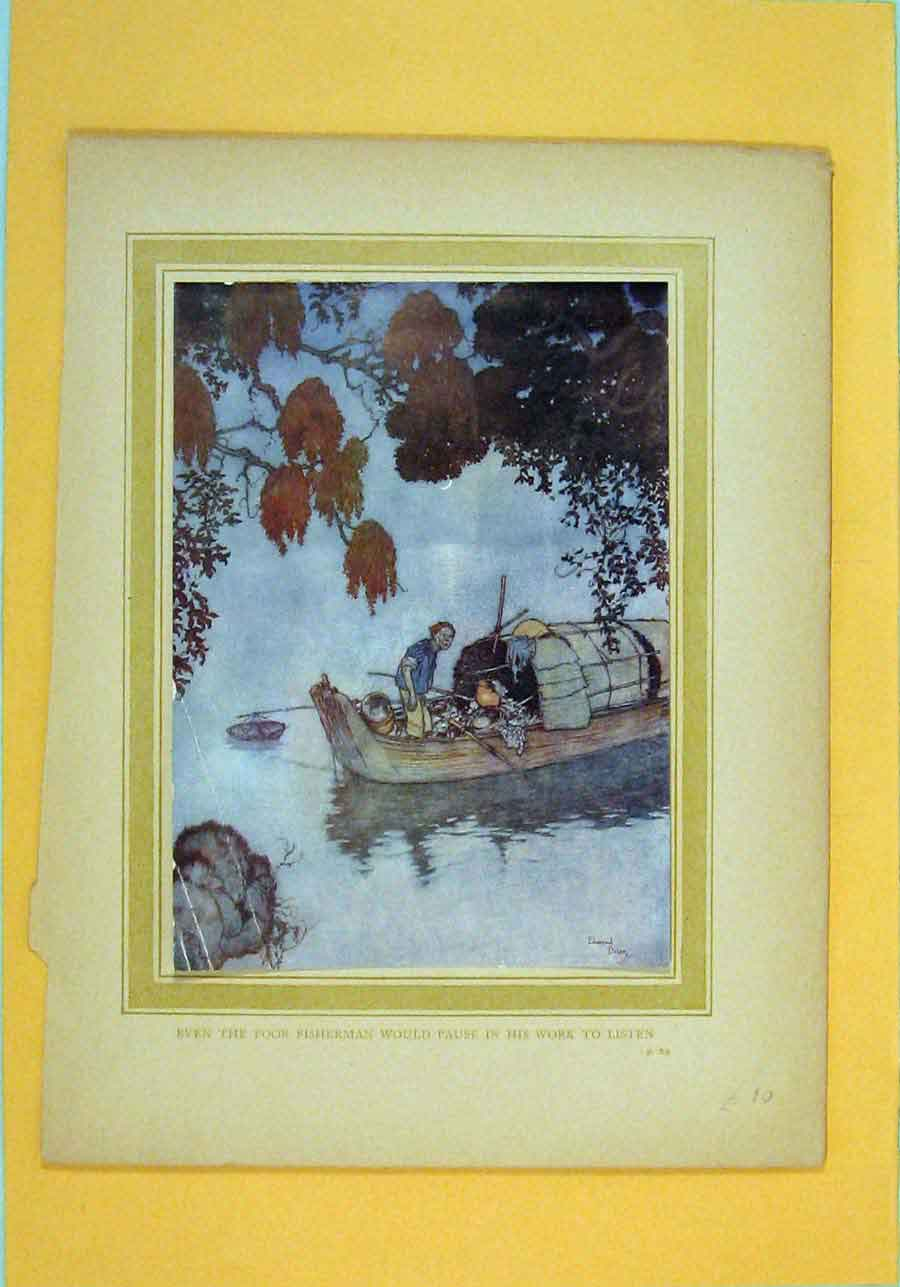 Print Fishermen Poor Listening Color Boat Lake 286051 Old Original